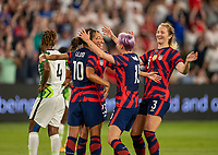 AUSTIN, TX - JUNE 16: Christen Press #23 of the USWNT celebrates during a game between Nigeria and USWNT at Q2 Stadium on June 16, 2021 in Austin, Texas.