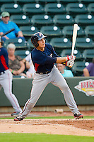 Cole Leonida (13) of the Potomac Nationals follows through on his swing against the Winston-Salem Dash at BB&T Ballpark on July 8, 2013 in Winston-Salem, North Carolina.  The Dash defeated the Nationals 12-9.  (Brian Westerholt/Four Seam Images)
