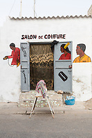 Senegal, Saint Louis.  Barber Shop.