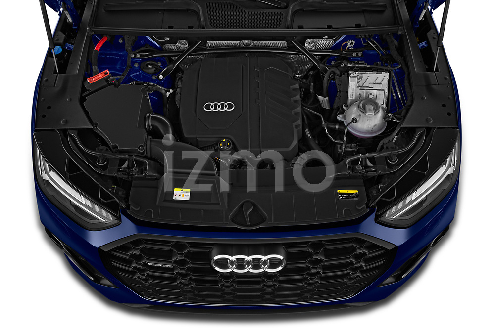 High angle engine detail of a 2021 Audi Q5 Edition One 5 Door SUV
