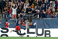 FOXBOROUGH, MA - SEPTEMBER 11: Tajon Buchanan #17 of New England Revolution celebrates his goal during a game between New York City FC and New England Revolution at Gillette Stadium on September 11, 2021 in Foxborough, Massachusetts.