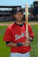 New Britain Rock Cats second baseman Eddie Rosario #13 poses for a photo after a game against the Erie Seawolves on June 20, 2013 at Jerry Uht Park in Erie, Pennsylvania.  New Britain defeated Erie 2-0.  (Mike Janes/Four Seam Images)
