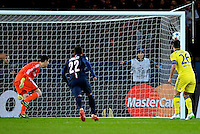 17.02.2015. Paris, France. Champions League football. Paris St Germain versus Chelsea. Goal scored by Edinson Cavani (psg)past Courtois in the Chelsea goal