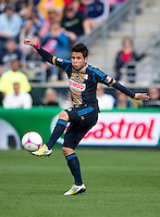 Michael Farfan (21) of the Philadelphia Union takes a touch on the ball during the game at PPL Park in Chester, PA.  New York defeated Philadelphia, 3-0.