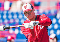 11 March 2014: Washington Nationals outfielder Scott Hairston awaits his turn in the batting cage prior to a Spring Training game against the New York Yankees at Space Coast Stadium in Viera, Florida. The Nationals defeated the Yankees 3-2 in Grapefruit League play. Mandatory Credit: Ed Wolfstein Photo *** RAW (NEF) Image File Available ***