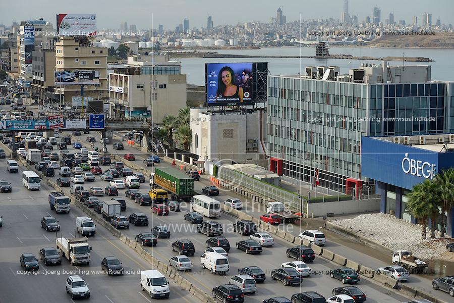 LEBANON, Beirut, heavy traffic on highway to Tripoli, view to down town / LIBANON, Beirut, Autobahn Beirut-Tripoli