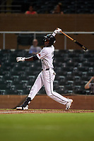 Salt River Rafters Geraldo Perdomo (7), of the Arizona Diamondbacks organization, at bat during an Arizona Fall League game against the Mesa Solar Sox on September 19, 2019 at Salt River Fields at Talking Stick in Scottsdale, Arizona. Salt River defeated Mesa 4-1. (Zachary Lucy/Four Seam Images)