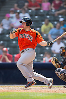 David Freitas (46) of the Bowie Baysox follows through on his swing against the Richmond Flying Squirrels at The Diamond on May 24, 2015 in Richmond, Virginia.  The Flying Squirrels defeated the Baysox 5-2.  (Brian Westerholt/Four Seam Images)
