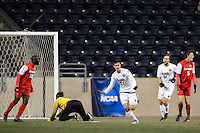 Notre Dame Fighting Irish midfielder Patrick Hodan (27) celebrates scoring during the first half against the New Mexico Lobos during the semifinals of the 2013 NCAA division 1 men's soccer College Cup at PPL Park in Chester, PA, on December 13, 2013.