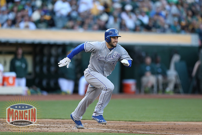 OAKLAND, CA - MAY 18:  Eric Hosmer #35 of the Kansas City Royals runs the first base during the game against the Oakland Athletics at O.co Coliseum on Saturday May 18, 2013 in Oakland, California. Photo by Brad Mangin