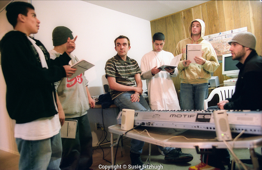 Teenage boys living in a low-income trailer park south of Seattle gather twice a week to learn how to compose and perform their own Hip Hop compositions.  Their teacher is Amos Miller (rt), who is also now one of the fellows in Obama's new MusicianCorps.