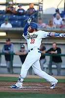 Justin Turner (33) of the Los Angeles Dodgers bats for for the Rancho Cucamonga Quakes during a rehab game against the Modesto Nuts at LoanMart Field on June 5, 2017 in Rancho Cucamonga, California. Rancho Cucamonga defeated Modesto, 7-5. (Larry Goren/Four Seam Images)