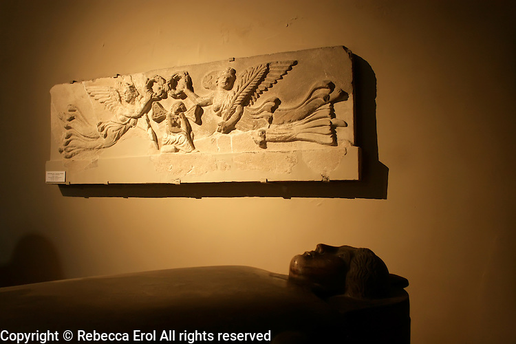 The Archaeological Museum in Istanbul, Turkey: limestone fragment of a roman sarcophagus showing Psyche from Sidon (Sayda, Lebanon)