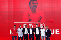 National soccer team of Spain new coach Luis Enrique Martinez (c-l) with the president of the RFEF Luis Rubiales (c), the Sports Director Jose Francisco Molina (c-r) and his staff technical with Robert Moreno, second coach (2l); Rafael Pol, physical trainer (2r); Jesus Casas, analyst and scout (l) and Joaquin Valdes, psychologist during their official presentation. July 19,2018. (ALTERPHOTOS/Acero)
