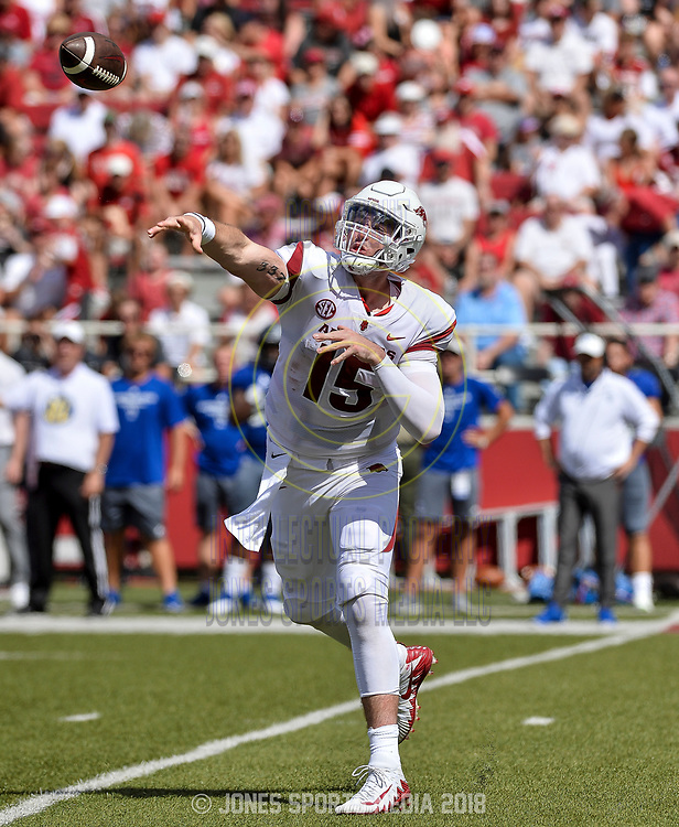 Arkansas quarterback COLE KELLEY fires a pass during the first quarter of Saturday's game against Eastern Illinois at Donald W. Reynolds Razorback Stadium in Fayetteville.