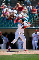 Rochester Red Wings left fielder J.B. Shuck (21) bats during a game against the Scranton/Wilkes-Barre RailRiders on June 7, 2017 at Frontier Field in Rochester, New York.  Scranton defeated Rochester 5-1.  (Mike Janes/Four Seam Images)