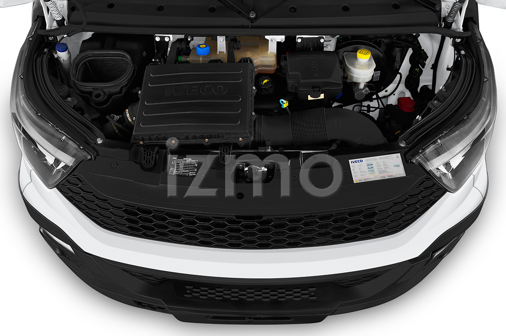 Car stock 2018 Iveco Daily 35S 4 Door Cargo Van engine high angle detail view