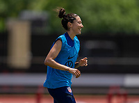 HOUSTON, TX - JUNE 8: Christen Press #23 of the USWNT laughs during a training session at the University of Houston on June 8, 2021 in Houston, Texas.
