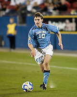 North Carolina forward Billy Schuler (10) advances the ball.  North Carolina Tar Heels defeated Wake Forest Demon Deacons 1-0 in the semifinal match of the NCAA Men's College Cup at Pizza Hut Park in Frisco, TX on December 12, 2008.  Photo by Wendy Larsen/isiphotos.com