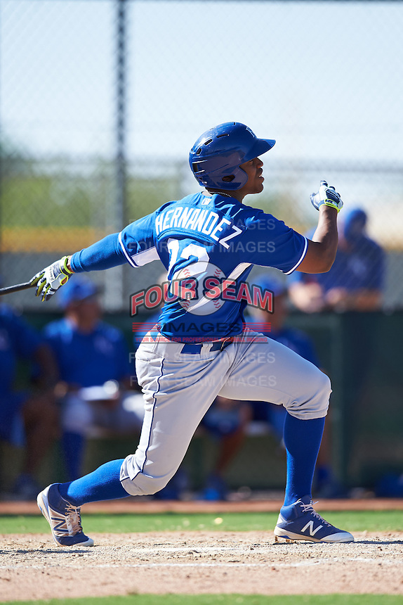 Kansas City Royals Elier Hernandez (12) during an Instructional League game against the Texas Rangers on October 4, 2016 at the Surprise Stadium Complex in Surprise, Arizona.  (Mike Janes/Four Seam Images)