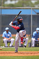 Atlanta Braves Trey Harris (34) bats during a Minor League Spring Training game against the Tampa Bay Rays on April 25, 2021 at Charlotte Sports Park in Port Charlotte, Fla.  (Mike Janes/Four Seam Images)