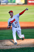 Orem Owlz starting pitcher Nate Bertness (21) delivers a pitch to the plate against the Grand Junction Rockies in Pioneer League action at Home of the Owlz on July 7, 2016 in Orem, Utah. The Owlz defeated the Rockies 15-3. (Stephen Smith/Four Seam Images)