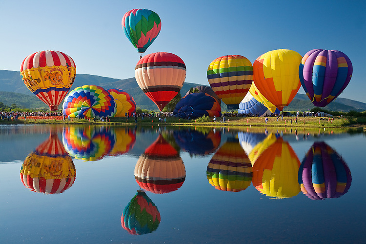 Balloon rodeo reflection in Steamboat Springs annual balloon rodeo