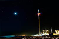 WEATHER PICTURE<br /> A half moon and stars are seen in a clear sky over the British Airways i360 in Brighton, England UK. Friday 23 February 2018<br /> This February is known as a Black Moon month as there will not be a full moon during the month. The weather has also remained dry with cold winds from the north.
