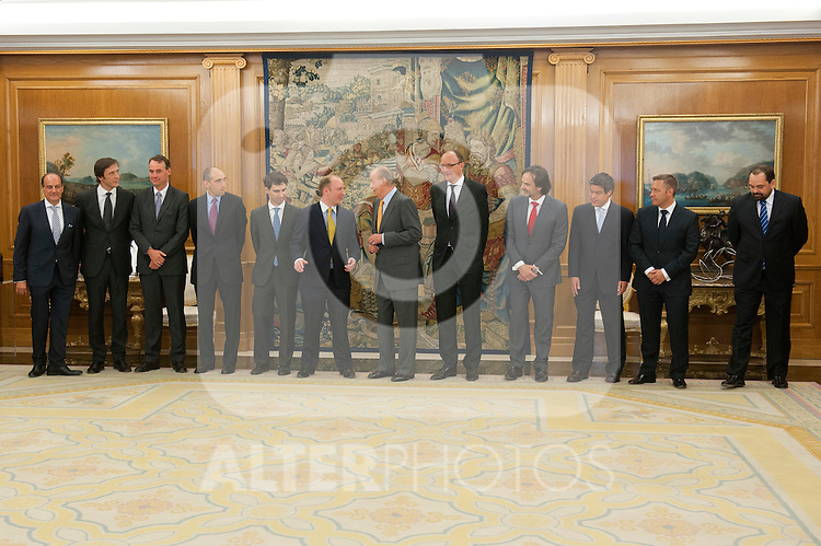 Spain´s King Juan Carlos I in the audience with  the board of directors of Altadis. July 17, 2012. (ALTERPHOTOS/Ricky)