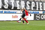 Boyd (HFC) geegen Hercher (FCK) beim Spiel in der 3. Liga, Hallescher FC - 1. FC Kaiserslautern.<br /> <br /> Foto © PIX-Sportfotos *** Foto ist honorarpflichtig! *** Auf Anfrage in hoeherer Qualitaet/Aufloesung. Belegexemplar erbeten. Veroeffentlichung ausschliesslich fuer journalistisch-publizistische Zwecke. For editorial use only. DFL regulations prohibit any use of photographs as image sequences and/or quasi-video.