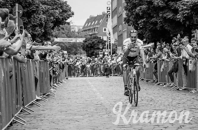 "John Degenkolb (DEU/Trek-Segafredo) checking email...<br /> <br /> ""Le Grand Départ"" <br /> 104th Tour de France 2017 <br /> Team Presentation in Düsseldorf/Germany"