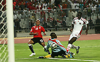 Trinidad & Tobago's Glenroy Samuel watches as a shot by Egypt's Afroto sails past him to make the first goal of the FIFA Under 20 World Cup Group A Match between Trinidad & Tobago at the Egyptian Army Stadium on September 24, 2009 in Alexandria, Egypt.