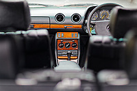 The centre console Mercedes W123 series 230TE estate version, outside the Penderyn Whisky Distillery in south Wales, UK. Tuesday 19 June 2018