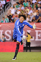 Mexico goalkeeper Guillermo Ochoa (1) follows thru on a clearance. The men's national teams of the United States (USA) and Mexico (MEX) played to a 1-1 tie during an international friendly at Lincoln Financial Field in Philadelphia, PA, on August 10, 2011.