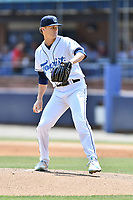 Asheville Tourists starting pitcher Ryan Feltner (14) delivers a pitch during a game against the West Virginia Power at McCormick Field on June 2, 2019 in Asheville, North Carolina. The  Power defeated the Tourists 5-4. (Tony Farlow/Four Seam Images)