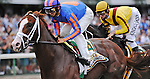 02 August 09:Munnings and jockey John Velasquez take the lead before fading to thurd in the Haskell Invitational at Monmouth Park in West Long Branch, New Jersey.