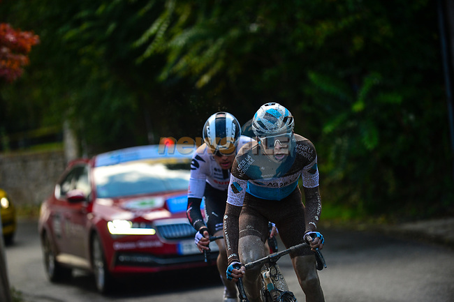 Benoit Cosnefroy (FRA) AG2R-La Mondiale and Casper Pedersen (DEN) Team Sunweb out front during Paris-Tours 2020, running 213km from Chartres to Tours, France. 11th October 2020.<br /> Picture: ASO/Gautier Demouveaux | Cyclefile<br /> All photos usage must carry mandatory copyright credit (© Cyclefile | ASO/Gautier Demouveaux)