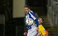 Tom Parkes of Bristol Rovers & Max Kretzschmar of Wycombe Wanderers watch as the ball passes them by during the Johnstone's Paint Trophy match between Bristol Rovers and Wycombe Wanderers at the Memorial Stadium, Bristol, England on 6 October 2015. Photo by Andy Rowland.
