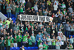 St Johnstone v Celtic....15.09.12      SPL  .Celtic fans with a Justive for the 96 banner supporting the Liverpool families.Picture by Graeme Hart..Copyright Perthshire Picture Agency.Tel: 01738 623350  Mobile: 07990 594431