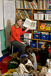 Education Elementary school Grade 2 English language arts female teacher reading picture book to class vertical