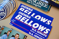 Bumper stickers for Shenna Bellows, Democratic candidate in Maine for US Senate, lay on a table at the Falmouth Democratic town caucus in the Falmouth Elementary School cafeteria in Falmouth, Maine, USA, on March 3, 2014. Bellows is trying to unseat incumbent Maine Republican Senator Susan Collins in the 2014 election. The town caucus had speeches from various other local candidates and also served to choose delegates for the 2014 Maine State Democratic Caucus.