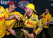 funny car, Camry, J.R. Todd, DHL, victory, celebration, trophy, crew