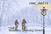 Marcello, CHRISTMAS CHILDREN, WEIHNACHTEN KINDER, NAVIDAD NIÑOS, paintings+++++,ITMCXM1173,#xk# ,playing in snow