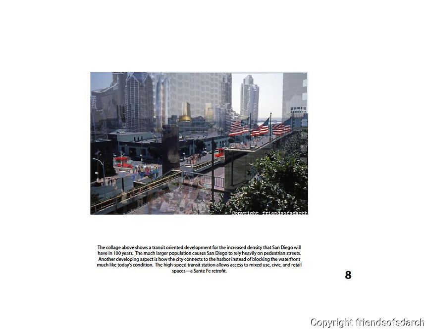 Entry for Stephen M. Graham and Antonio Corral,NSAD for FSDA Collage Competition, 2015. Collage shows a transit-oriented development for increased density.