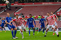 9th January 2021; Bet365 Stadium, Stoke, Staffordshire, England; English FA Cup Football, Carabao Cup, Stoke City versus Leicester City; Danny Batth of Stoke City heads the ball clear of danger