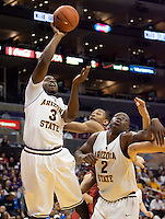 Arizona State's Ty Abbott shoots the ball. The Stanford Cardinal, ranked 7th in the Pac-10 defeated the 2nd ranked Arizona State Sun Devils 70-61 during the Pac-10 Tournament at the Staples Center in Los Angeles, California on March 11th, 2010.