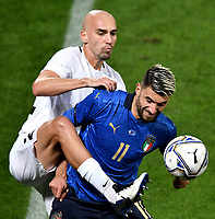 Nikita Baranov of Estonia and Vincenzo Grifo of Italy compete for the ball during the friendly football match between Italy and Estonia at Artemio Franchi Stadium in Firenze (Italy), November, 11th 2020. Photo Andrea Staccioli/ Insidefoto