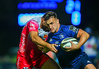 2nd October 2020; RDS Arena, Dublin, Leinster, Ireland; Guinness Pro 14 Rugby, Leinster versus Dragons; Ronan Kelleher (Leinster) attempts to hand off a tackle from Jamie Roberts (Dragons)