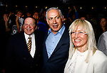 Jewish American billionaire Sheldon Adelson, left, Prime Minister Benjamin Netanyahu, center, and Adelson's wife, Miriam during a Taglit event in Jerusalem Sunday Aug 12 2007 . Photo by Eyal Warshavsky.