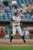 Clinton LumberKings Peyton Burdick (27) at bat during a Midwest League game against the Great Lakes Loons on July 19, 2019 at Dow Diamond in Midland, Michigan.  Clinton defeated Great Lakes 3-2.  (Mike Janes/Four Seam Images)